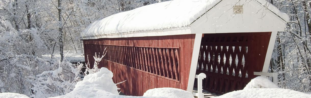 Covered bridge with roof covered in snow, with snow in foreground, surrounded by trees with snow covering bare branches